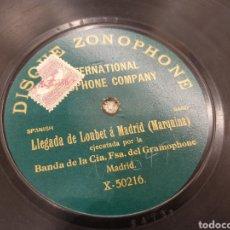 Discos de pizarra: 78 RPM LLEGADA DE LOUBET Á MADRID. Lote 194568572