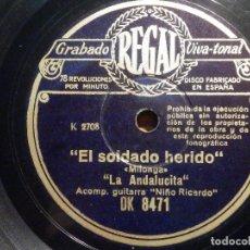 Discos de pizarra: DISCO PIZARRA - REGAL DK 8471 - LA ANDALUCITA - SOLDADO HERIDO - QUE TRISTE Y QUE DOLOROSO. Lote 194642493