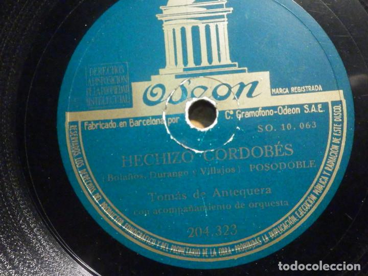 DISCO PIZARRA - ODEON 204.323 - TOMÁS DE ANTEQUERA - HECHIZO CORDOBÉS - DE CADIZ A CARTAGENA (Música - Discos - Pizarra - Flamenco, Canción española y Cuplé)