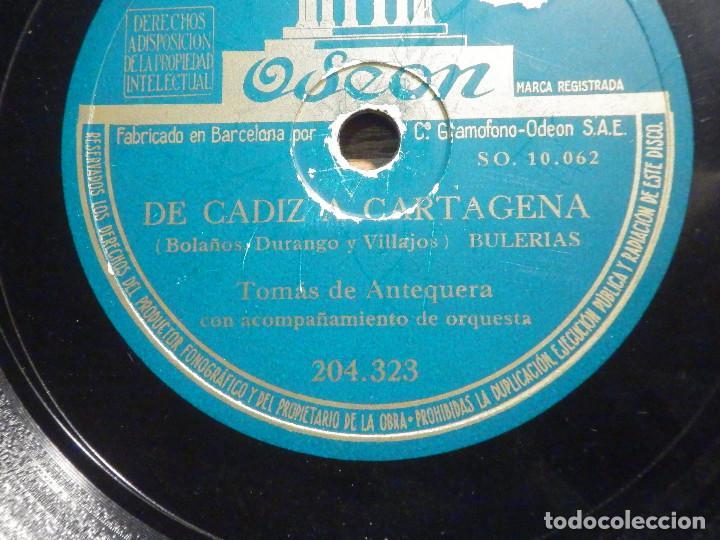 Discos de pizarra: Disco Pizarra - Odeon 204.323 - Tomás de Antequera - Hechizo cordobés - De Cadiz a Cartagena - Foto 2 - 194642656