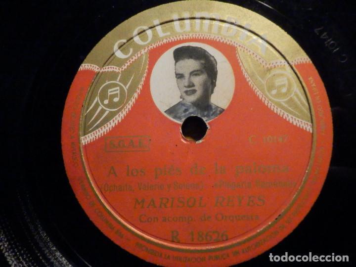 DISCO PIZARRA - COLUMBIA R 18626 - MARISOL REYES - A LOS PIES DE LA PALONA - LAS VENAS YO ME ABRIRÍA (Música - Discos - Pizarra - Flamenco, Canción española y Cuplé)