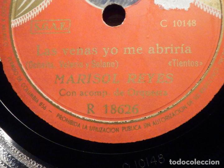 Discos de pizarra: Disco Pizarra - Columbia R 18626 - Marisol Reyes - A los pies de la Palona - Las venas yo me abriría - Foto 2 - 194643046