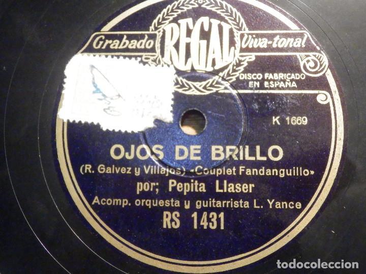 DISCO PIZARRA - REGAL RS 1431 - PEPILA LLASER - OJOS DE BRILLO - AL PASAR LA MACARENA (Música - Discos - Pizarra - Flamenco, Canción española y Cuplé)