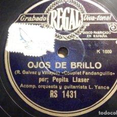 Discos de pizarra: DISCO PIZARRA - REGAL RS 1431 - PEPILA LLASER - OJOS DE BRILLO - AL PASAR LA MACARENA. Lote 194643727