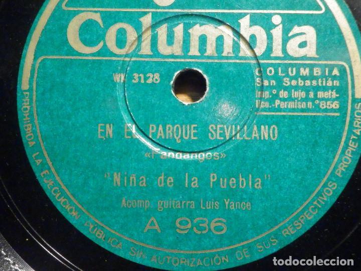 PIZARRA - COLUMBIA A 936 - NIÑA DE LA PUEBLA, EN EL PARQUE SEVILLANO, EN LOS PUEBLOS DE MI ANDALUCÍA (Música - Discos - Pizarra - Flamenco, Canción española y Cuplé)