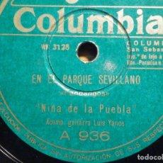 Discos de pizarra: PIZARRA - COLUMBIA A 936 - NIÑA DE LA PUEBLA, EN EL PARQUE SEVILLANO, EN LOS PUEBLOS DE MI ANDALUCÍA. Lote 194644301