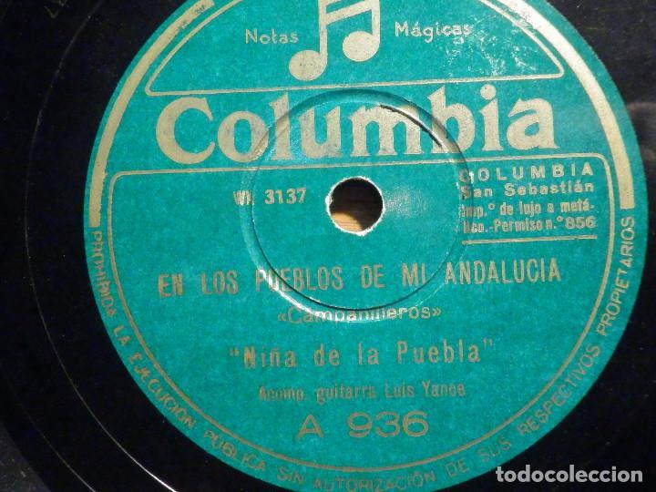 Discos de pizarra: Pizarra - Columbia A 936 - Niña de la Puebla, En el parque sevillano, En los pueblos de mi Andalucía - Foto 2 - 194644301