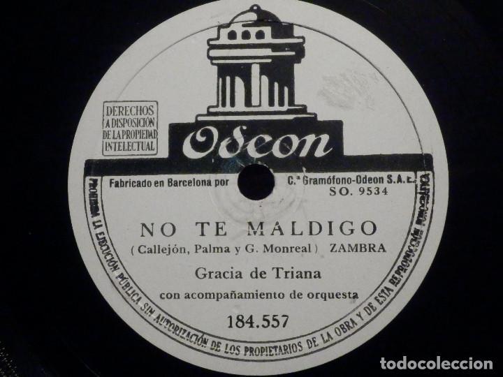 Discos de pizarra: Disco de Pizarra - Odeon 184.557 - Gracia de Triana - Albahaca - No te maldigo - Foto 2 - 194644492