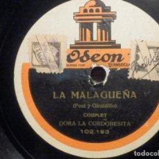 Discos de pizarra: DISCO DE PIZARRA - ODEON 102.193 - DORA LA CORDOBESITA - LA MALAGUEÑA - CONSUELO LA ALEGRIA . Lote 194644782