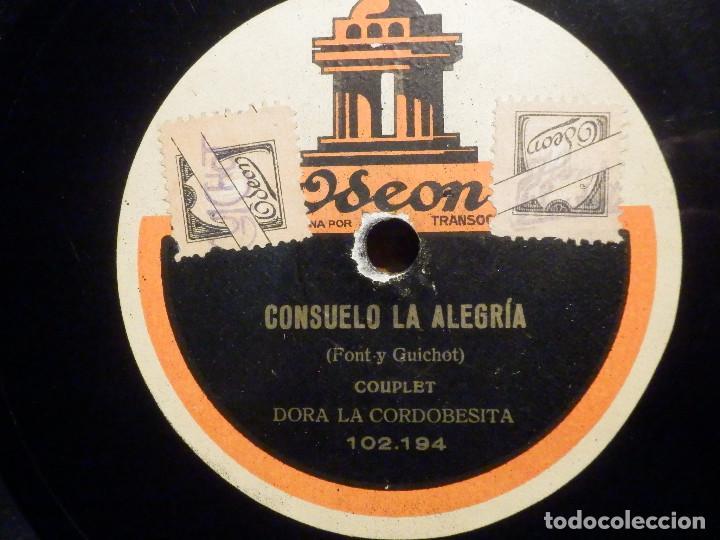Discos de pizarra: Disco de Pizarra - Odeon 102.193 - Dora La Cordobesita - La Malagueña - Consuelo la Alegria - Foto 2 - 194644782