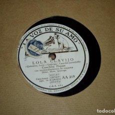 Discos de pizarra: LOLA CLAVIJO Y ROMANCE DE LA OTRA DE CONCHITA PIQUER. Lote 194740911