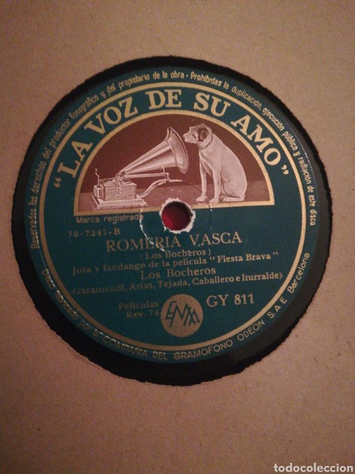DISCO DE PIZARRA 78RPM-LOS BOCHEROS-ROMERIA VASCA/LA LUNA ENAMORÁ (Música - Discos - Pizarra - Solistas Melódicos y Bailables)