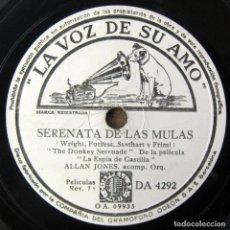 Discos de pizarra: ALLAN JONES - SERENATA DE LAS MULAS / GIANNINA MÍA - PIZARRA - LA ESPÍA DE CASTILLA. Lote 194957815