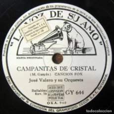 Discos de pizarra: JOSÉ VALERO Y ORQUESTA - CAMPANITAS DE CRISTAL / TU CORAZÓN Y EL MIO - PIZARRA - FOX, BEGUINE. Lote 194958042