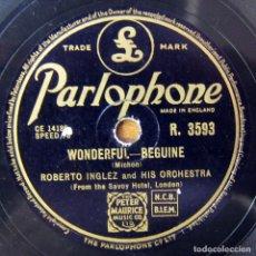 Discos de pizarra: ROBERTO INGLEZ Y ORQUESTA - WONDERFUL / CUBAN NOCTURNE - BEGUINE - PIZARRA, HOTEL SAVOY. Lote 194962601