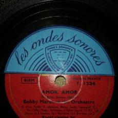 Discos de pizarra: DISCO DE PIZARRA 78RPM-AMOR AMOR/KISS ME. Lote 194973925