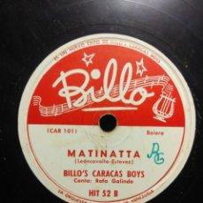 Discos de pizarra: DISCO DE PIZARRA : BILLO´S CARACAS BOYS : MATINATTA . Lote 195325740