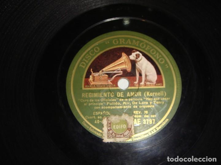 Discos de pizarra: Disco de Pizarra. Regimiento de Amor. B.S. Hay que casar al Principe. - Foto 2 - 195373205