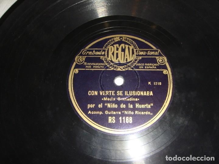 Discos de pizarra: EL NIÑO DE LA HUERTA. CON VERTE SE ILUSIONABA - QUE YO A MI MADRE. GUITARRA NIÑO RICARDO. - Foto 2 - 195375311