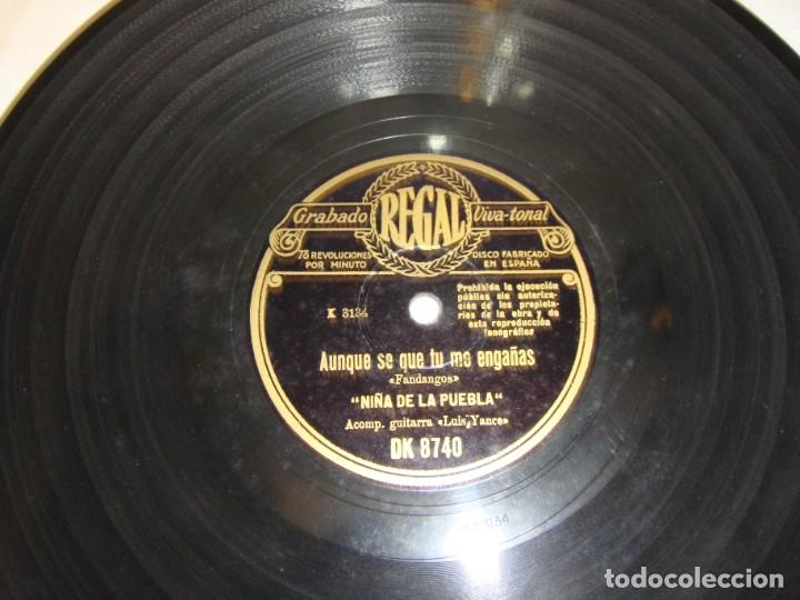 DISCO DE PIZARRA. NIÑA DE LA PUEBLA: POR QUÉ TE LLAMAN DOLORES / AUNQUE SÉ QUE TÚ ME ENGAÑAS (Música - Discos - Pizarra - Flamenco, Canción española y Cuplé)