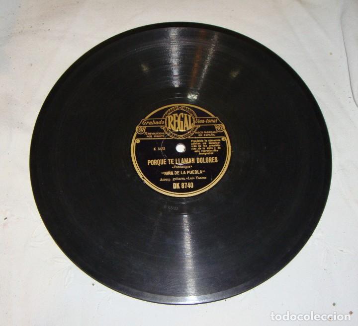 Discos de pizarra: Disco de Pizarra. Niña de la Puebla: Por qué te llaman Dolores / Aunque sé que tú me engañas - Foto 2 - 195376316