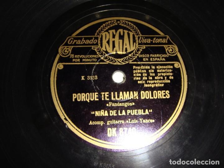 Discos de pizarra: Disco de Pizarra. Niña de la Puebla: Por qué te llaman Dolores / Aunque sé que tú me engañas - Foto 3 - 195376316