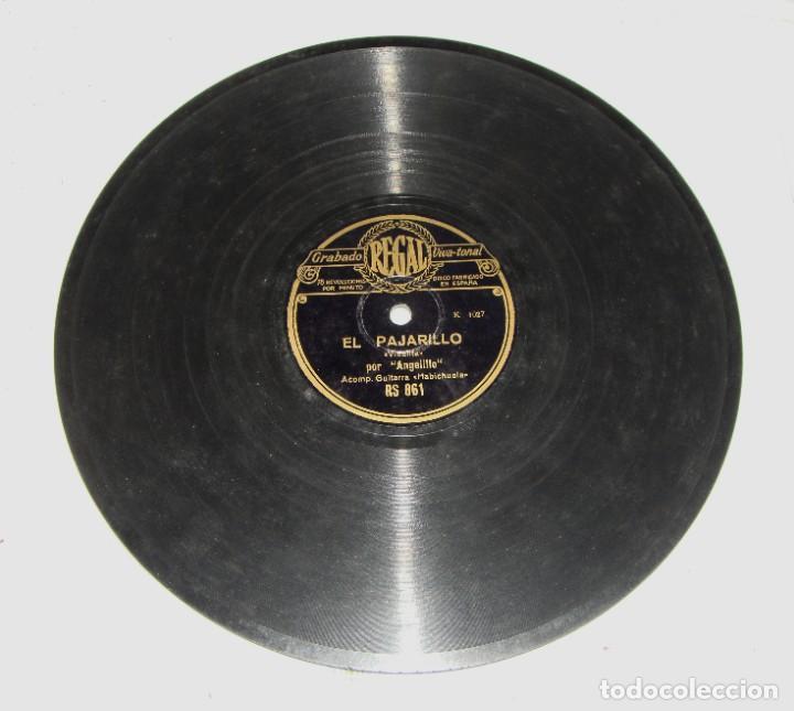 DISCO DE PIZARRA DE ANGELILLO, EN LA GUITARRA (HABICHUELA) - EL PAJARILLO / ANTE UNA CRUZ ME JURO (Música - Discos - Pizarra - Flamenco, Canción española y Cuplé)