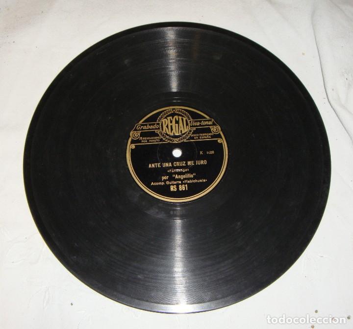 Discos de pizarra: DISCO DE PIZARRA DE ANGELILLO, EN LA GUITARRA (HABICHUELA) - EL PAJARILLO / ANTE UNA CRUZ ME JURO - Foto 3 - 195376678