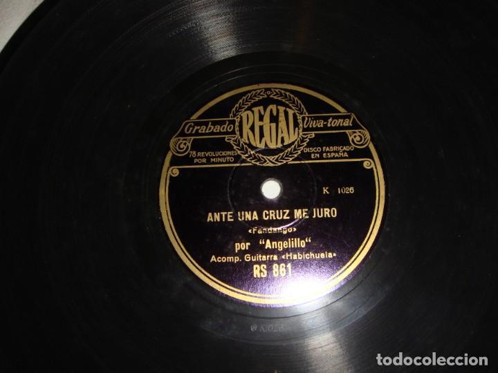 Discos de pizarra: DISCO DE PIZARRA DE ANGELILLO, EN LA GUITARRA (HABICHUELA) - EL PAJARILLO / ANTE UNA CRUZ ME JURO - Foto 4 - 195376678