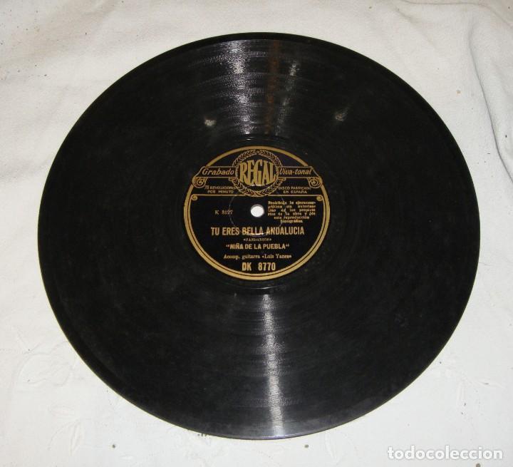 NIÑA DE LA PUEBLA. TU ERES BELLA ANDALUCÍA / TINIEBLAS. (Música - Discos - Pizarra - Flamenco, Canción española y Cuplé)