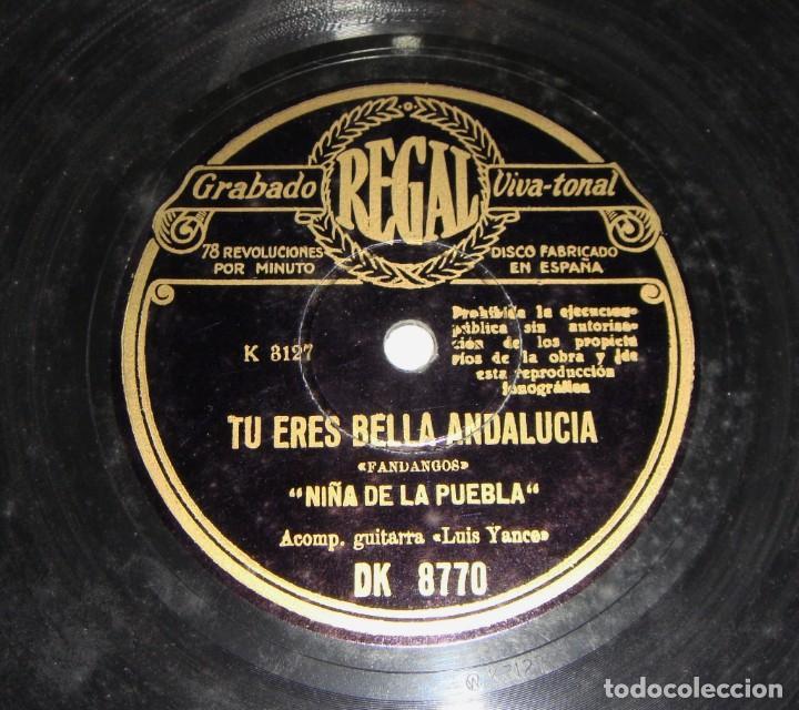 Discos de pizarra: Niña de la Puebla. Tu eres bella Andalucía / Tinieblas. - Foto 2 - 195378507
