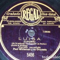 Discos de pizarra: DISCO 78 RPM - REGAL - PAUL WHITEMAN - ORQUESTA - LUISA - HAWAII AZUL - FOXTROT - PIZARRA. Lote 195468612