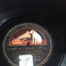 Discos de pizarra: LA MORT DE L'ESCOLA. Lote 195976956
