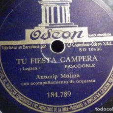 Discos de pizarra: PIZARRA ODEON 184.789 - ANTONIO MOLINA - TU FIESTA CAMPERA - MARÍA DE LOS DOLORES. Lote 196025295