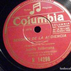 Discos de pizarra: PIZARRA COLUMBIA R 14296 - JUANITO VALDERRAMA - LA CRUZ DE LOS CAMINOS - SEÑORES DE LA AUDIENCIA. Lote 196025298