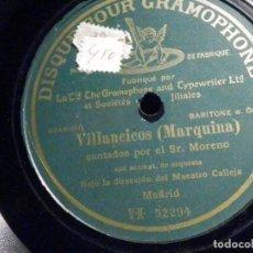 Discos de pizarra: PIZARRA DE UNA CARA GRAMOPHONE VX 52294 - VILLANCICOS - MARQUINA, CANTA SR MORENO - MAESTRO CALLEJA . Lote 196025425