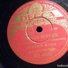Discos de pizarra: PIZARRA DECCA RD 40058 - ELVIRA RIOS - DESESPERADAMENTE - BUENAS NOCHES. Lote 196025545