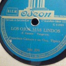 Discos de pizarra: PIZARRA ODEON 204.379 - FRANCISCO CANARO Y SU ORQUESTA - CORAZON ENCADENADO - LOS OJOS MAS LINDOS. Lote 196026387