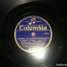 Discos de pizarra: CANCION DEL FALANGISTA, HIMNO DE LOS PONTONEROS, SOLISTA PLACIDO DOMINGO.VER FOTOS. Lote 196141108