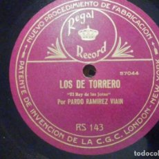 Discos para gramofone: PIZARRA REGAL RECORD RS 143 - EL REY DE LAS JOTAS - PARDO RAMIREZ VIAIN, LOS DE TORRERO - BATURRADAS. Lote 196243317
