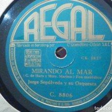 Discos de pizarra: PIZARRA REGAL C 8806 - JORGE SEPÚLVEDA Y SU ORQUESTA - MIRANDO AL MAR - CAMPANITAS DE LA ALDEA. Lote 196244747