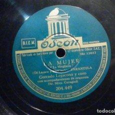 Discos de pizarra: PIZARRA ODEON 204.449 - CORRADO LOJACONO Y CORO - LAS MUCHACHAS DE LA PLAZA ESPAÑA - LA MUJER. Lote 196248225