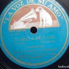Discos de pizarra: PIZARRA LA VOZ DE SU AMO GY 794 - JEAN VAISSADE - LA BELLA DE CADIZ - LA JAVACHE. Lote 196248460