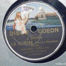 Discos de pizarra: PIZARRA - ODEON 138.440 Y 138.441 - RAQUEL MELLER - LA OLIVERA -MALA ENTRAÑA, EL GITANILLO. Lote 196321567
