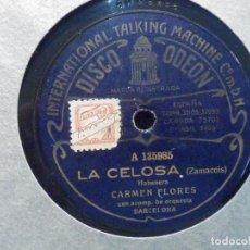 Discos de pizarra: PIZARRA DISCO ODEON A 135985, 135979 - CARMEN FLORES - LA CELOSA, HABANERA - LA ESPAÑOLA. Lote 196322005