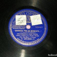 Discos de pizarra: LOLA CABELLO Y PURA NEGRI -QUISIERA POR UN MOMENTO -LOLA CABELLO Y ORQUESTA - LA ROSA. VER FOTOS. Lote 196341687