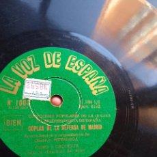 Discos de pizarra: COPLAS DE LA DEFENSA DE MADRID - FUERTE DE SAN CRISTOBAL - GUERRA CIVIL REPUBLICA VOZ DE ESPAÑA 1003. Lote 196392092