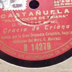 Discos de pizarra: PIZARRA COLUMBIA R 14279 - GRACIA DE TRIANA, CASTAÑUELA - VILLANCICOS DE - DESDE QUE TE CONOCI. Lote 196565222