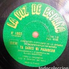 Discos de pizarra: YA SABES MI PARADERO - EL PENDON MORADO - GUERRA CIVIL REPUBLICA LA VOZ DE ESPAÑA 1002 INDEPENDENCIA. Lote 196391423