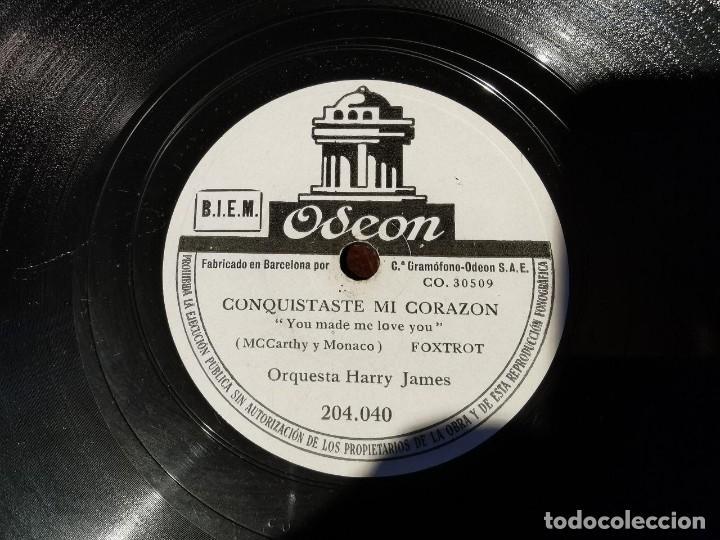 Discos de pizarra: ,DISCO PIZARRA, ODEON, LLORE POR TI, HARRY JAMES Y CONQUISTASTE MI CORAZON N5 - Foto 3 - 197354050